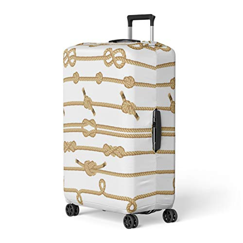 Pinbeam Luggage Cover Scout Rope Knots Collection Boat Sea Ship Straight Travel Suitcase Cover Protector Baggage Case Fits 22-24 inches