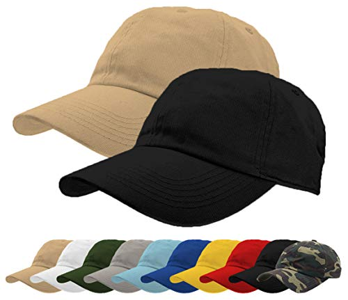 TrueM Clothing Set of 2 Classic 100% Washed Cotton Plain Baseball Caps Dad Hats Polo Style Adjustable Size Unstructured Soft (Khaki, Black)