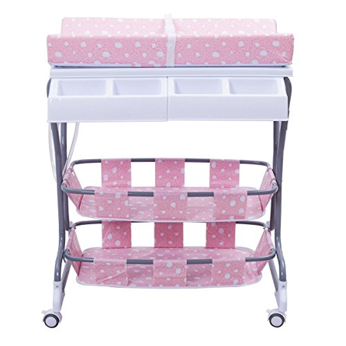 MD Group Baby Changing Table Pink Foam & Steel Frame 3-in-1 Pyramid Style Infant Nursery Storage by MD Group