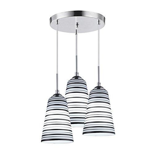 Elitlife Modern Multi-Light Pendant Light With 3-light 3x5W Bulb Elegant Chandelier Hanging Light Ceiling light Stripe Glass Shades for Restaurant,Kitchen,Living room,Cafe, Hotel (White) by Elitlife (Image #6)