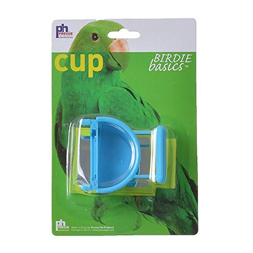 Prevue Hanging Plastic Pet Cup with Mirror
