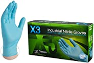 Ammex X3421000 Xtreme X3 Powder Free Nitrile Industrial Gloves, 240mm Length, Beaded Cuff