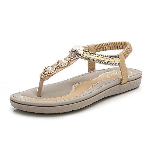 Meeshine Womens Summer Beach Flat Sandals Rhinestone Shiny Beads Slip On Flip Flops Thong Shoes(7 B(M) US,Beige 05)