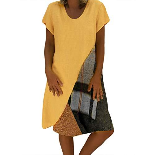 LUNIWEI New Dress for Women Plus Size Skirt Paneled Printing Tops Party Dress Mini Dress 2019 Yellow