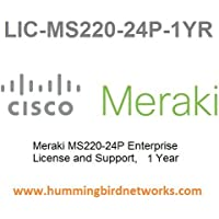 Meraki MS220-24P Enterprise License and Support, 1 Year, Electronic Delivery