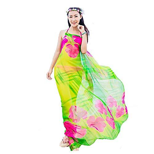 Herebuy8 Womens Sexy Beach Chiffon Sarongs Hawaiian Swimsuit Cover-up Wraps Hibiscus Print Plus Size Swim Bikini Scarf (Green)