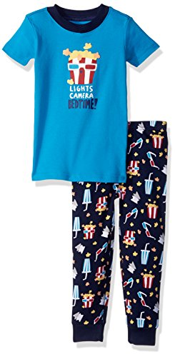 Gymboree Toddler Boys' 2-Piece Tight Fit Short Sleeve Pajama Set, Popcorn Print, 12-18 MO