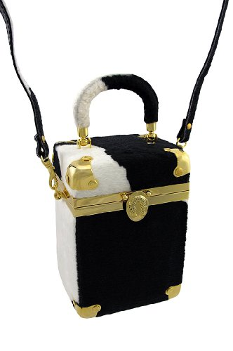 Cow Print Clutch With Brass Accents Metal Womens Clutch Handbags Black