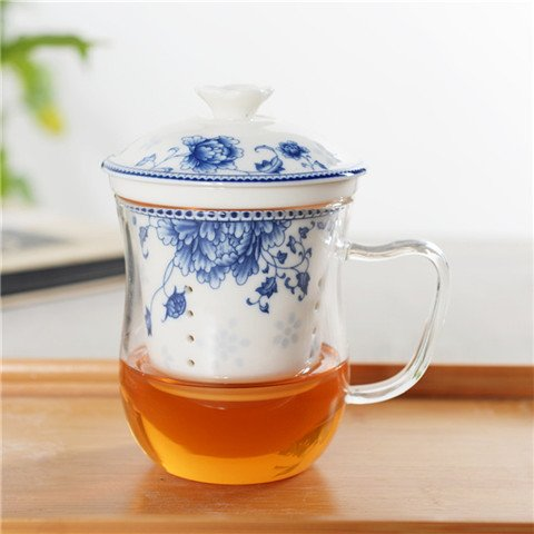(XYJHER Ceramic office cup, tea cup, glass flower cup, filter cup, ceramic filter, personal cup, office cup,National beauty and heavenly fragrance -)