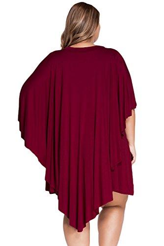 Neuf pour femme Taille plus Bordeaux héros Swing Robe Bureau Robe Casual Soirée Porter Plus Taille XXL UK 16EU 44