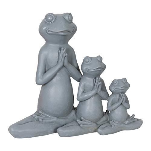 Exhart Three Meditating Yoga Frogs in a Lotus Position Garden Statue - Yoga Frogs Resin Statue in Meditation Pose - Handcrafted Resin Frog Decor - Best as Indoor and Outdoor Ornament, 11 x 9 Inches ()
