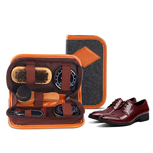 Verscoo Shoe Shine Kit with 100% Horsehair Brush, 6 pcs(Business Trip Carrying & Household)