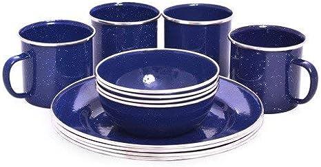 Set de vajilla esmaltada de 12 piezas ideal para picnic y comidas al aire libre OCP-ENDS-D