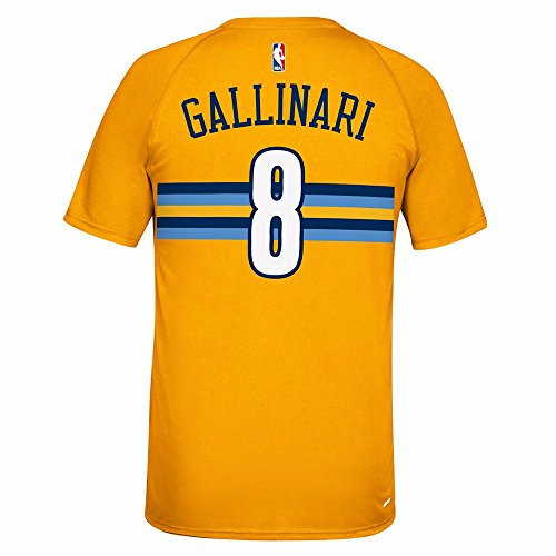 adidas Danilo Gallinari Denver Nuggets NBA Gold Player N&N Jersey Climalite Short Sleeve T-Shirt For Men (L)