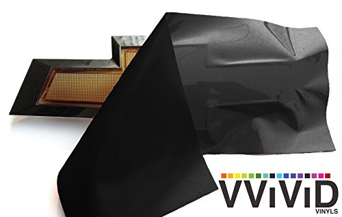 "VVIVID Gloss Black Auto Emblem Vinyl Wrap Overlay Cut-Your-Own Decal for Chevy Bowtie Grill, Rear Logo DIY Easy to Install 11.80"" x 4"" Sheets (x2)"