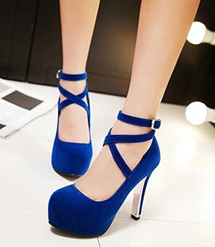Block Strap Suede IDIFU Shoes Heels Faux Blue Sexy High Cross Pumps Platform Ankle Womens Buckle wqZxIpq8P