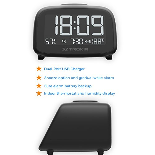 SZTROKIA Digital Alarm Clock, Multifunctional Alarm Clock, Indoor Thermometer, Hygrometer, Dual USB Charger, Suitable for Phone, Pad, Black