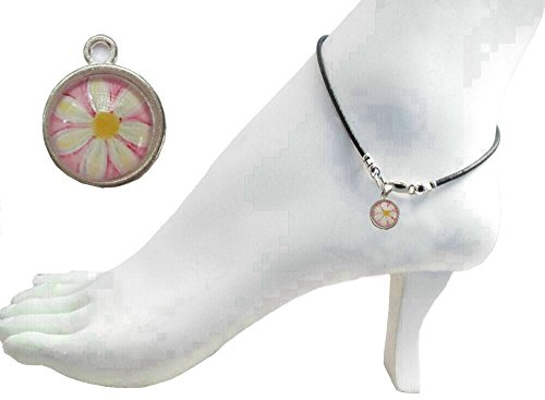 Cabochon Clasp - Black Leather Anklet with Daisy Flower Cabochon Charm ~ Sterling Silver Clasp
