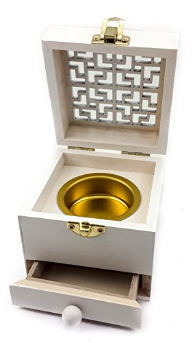Incense Burner Box (Nazareth Store Wooden Charcoal Incense Burner Resin Holder White Natural Wood Box Distiller Vessel)
