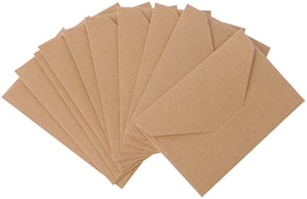 Mentin 50pcs Mini Enveloppes Kraft De Cartes Cadeaux Carte Visite Mariage Petites Classique Rabat Marron