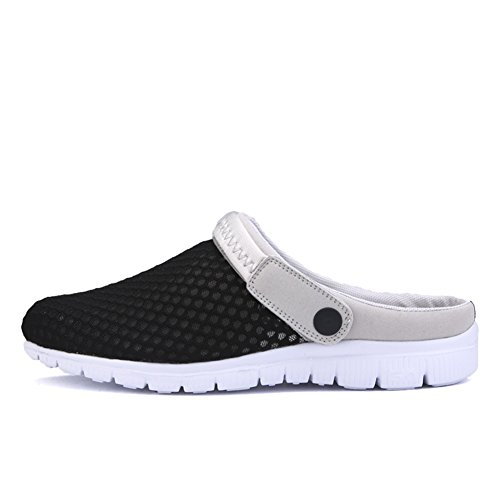 SAGUARO® Unisex del verano de malla transpirable zapatos de ocio punta cerrada deslizadores de las sandalias de playa Negro