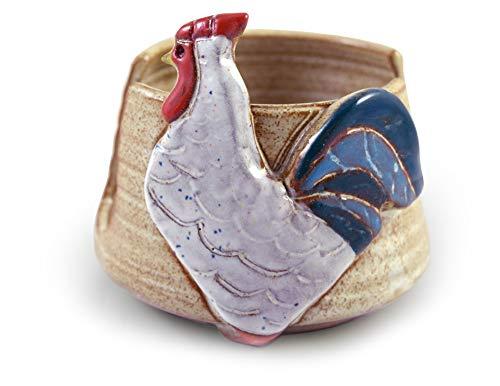 (American Handmade Pottery Kitchen Sponge Holder, Farmhouse Rooster Motif)
