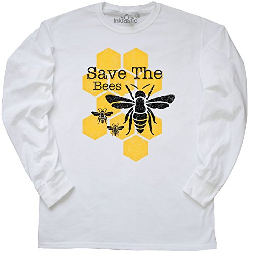 inktastic Honeycomb Save The Bees Long Sleeve T-Shirt X-Large White Bee Long Sleeve T-shirt