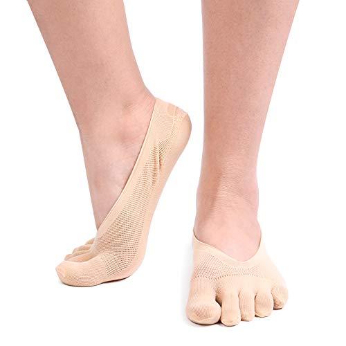 Women's 4 Pairs No Show Toe Socks Mesh Low Cut Non-Slip Heel Grip (Beige)