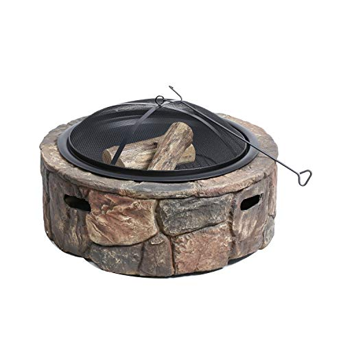 Sun Joe SJFP35-STN-LSN 35-in. Cast Stone Base, Wood Burning Fire Pit w/Dome Screen and Poker, Large Stone