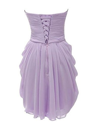 with Prom Gown Women's Sweetheart Botong Neck Short Chiffon Lavender Dresses Bridesmaid qIUxnC6w