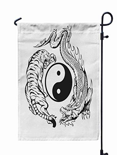 Shorping Welcome Garden Flag, 12x18Inch Dragon Fighting Tiger Around Yin Yang Symbol Tattoo for Holiday and Seasonal Double-Sided Printing Yards -