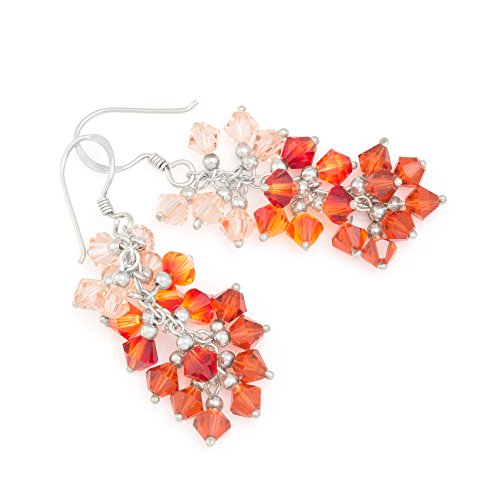 925 Sterling Silver Gradient Peach Red Faceted Crystal Beads Dangle Hook Earrings ()