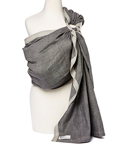 Baby Carrier Ring Sling by Hip Baby Wrap for Newborns, Infants and Toddlers (Midnight) - eco-Friendly, Beautiful, 100% Cotton - Perfect Baby Show Gift - Great for New mom and dad - Nursing Cover ()