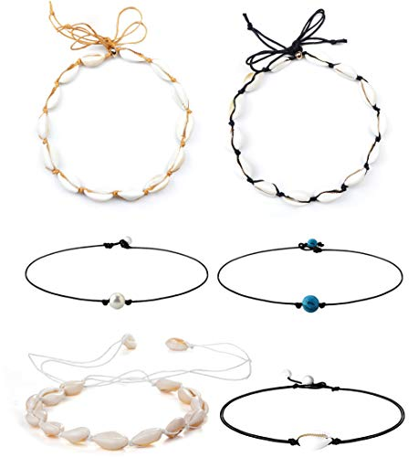 Besteel 6Pcs Sea Shell Choker Necklaces for Women Girls Hawaiian Seashell Pearls Choker Adjustable Cord Necklace Set