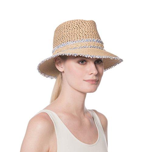 Eric Javits Fashion Designer Women's Headwear Hat - Squishee Lulu - Peanut Mix - Eric Javits Straw Cap