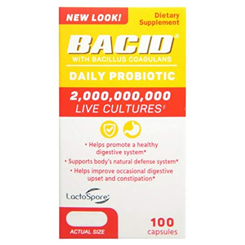 Bacid Probiotic with Bacillus Coagulans for Digestive Health, 100 - Caplets Bacid