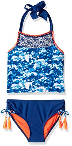 Limited Too Big Girls' Laced and Dyed Tankini, Blue, 10/12 ()