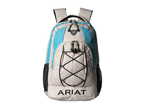 (Ariat Unisex Backpack w/Bungy Cord Front Grey/Blue One Size)