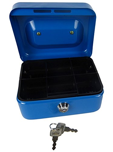 amazon com hyfive 6 blue steel petty cash box money holder