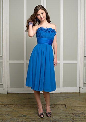 Tea-length Blue/Empire Waist Chiffon Bridesmaid Dress Mori Lee