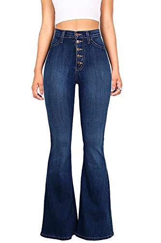 Blu Alta Vita Magro Tasca Donne Con Le Pantaloni Fondo Dei Jeans Bell qTPHCwBn