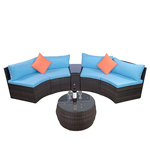 - LZ LEISURE ZONE 6-Piece Patio Furniture Sets, Outdoor Half-Moon Sectional Furniture Wicker Sofa Set with Two Pillows and Coffee Table, Blue Cushions