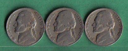 1947, 1947-D and 1947-S Jefferson Nickel - Mintage Nickel Jefferson