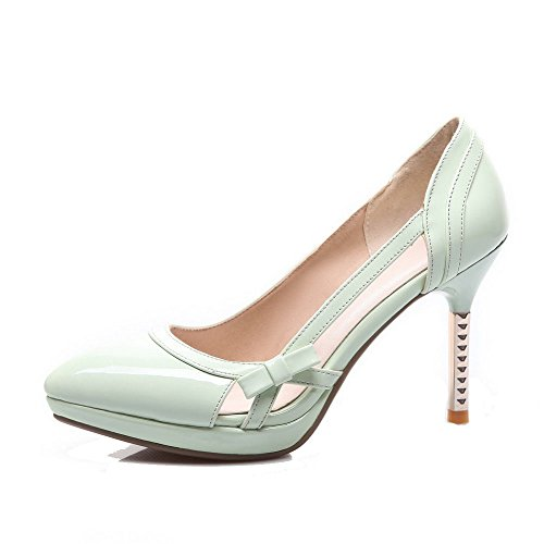 Shoes Closed Heels High PU Pull Womens Pumps Pointed Solid Toe AllhqFashion on Cyan gYqPw