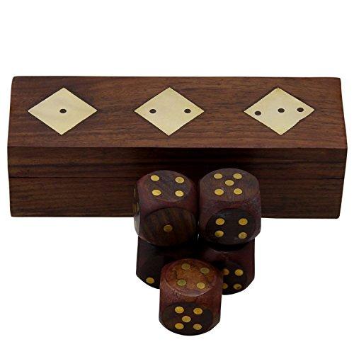 Boîte de dés en bois fabriqués à la main avec Set de 5 dés