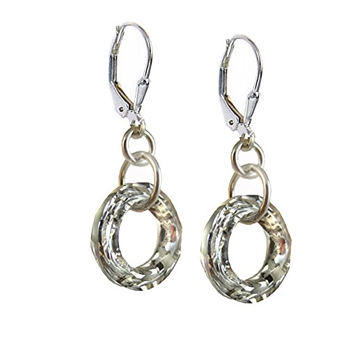 14mm Earrings Made with Swarovski Crystal Elements Cosmic Ring, Sterling Silver Leverback.