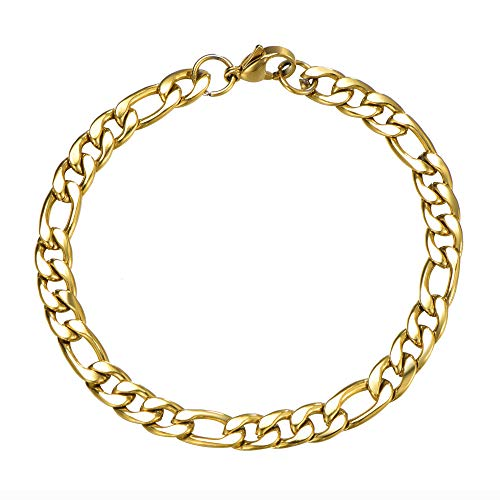 Wang Gao 8mm Mens Figaro Link Chain Bracelet Gold Stainless Steel Jewelry Gift for Women 7.87'' Length