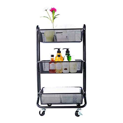 DESIGNA 3-Tier Metal Mesh Rolling Storage Cart with Utility Handle, Black