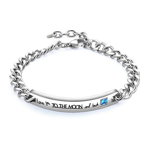 Feraco His Couples Bracelets Sets Titanium Steel Custom Promise Bar Bracelet