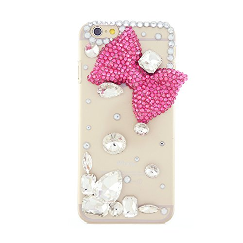 CaseBee - Handmade 3D Stylish Bow w/ Scattered Gemstones iPhone 6 (4.7) Case - Bling Bling Case (Package includes Extra Crystals & Screen Protector) (Black)